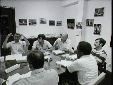 Post flight debriefing of the STS-8 crew