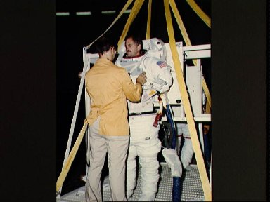 View of space shuttle mission 41-C crew during WETF training
