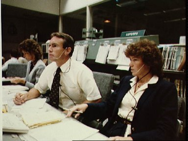 Views from the mission control center during STS-8