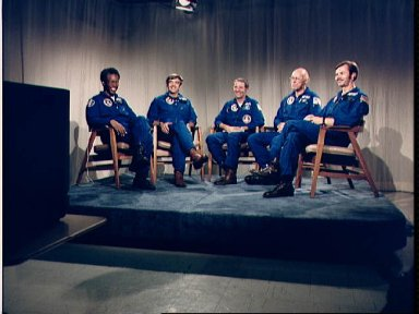 STS-8 crew during post flight telephone conversation with President Reagan