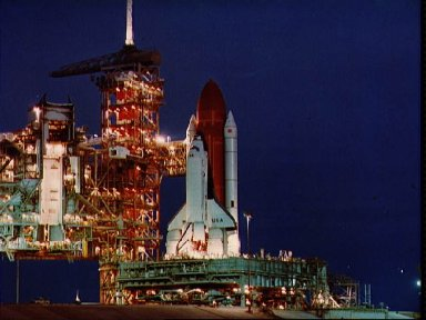 Space shuttle Columbia arrives at Pad 39A after nozzle on booster replacement