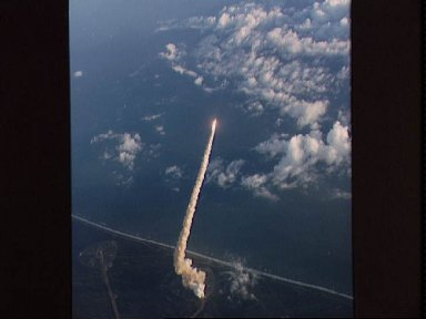 Launch view of Challenger and the 41-B mission