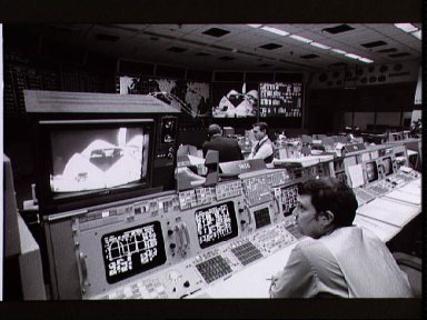 Mission Control activities during Day 1 First TV Pass of STS-11