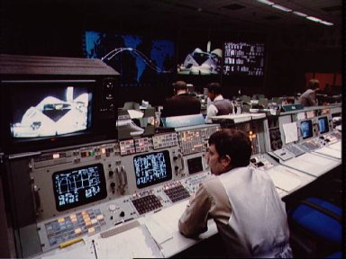 View of activities in Mission Control during the STS-11 mission