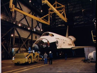 Shuttle Challenger is moved into the VAB for mating with SRB and ET