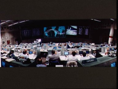 View of mission control during the EVA by McCandless