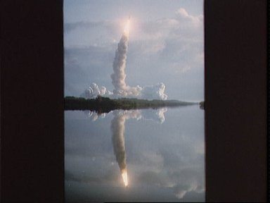 View of liftoff of space shuttle mission 41-B shuttle Challenger