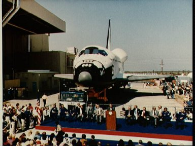 View of the rollout of the new shuttle Discovery at Palmdale, CA.