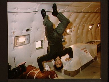 View of Canadian Payload Specialist Marc Garneau during Zero-G training