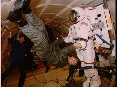 View of backup payload specialist Robert Thirsk during Zero-G training