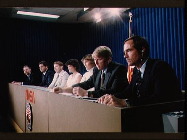 Press conference with the crew of the 41-G mission