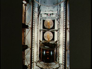 View of 41-D mission payloads after loading aboard the orbiter