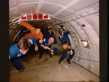 View of Zero-G training for astronauts and payload specialists
