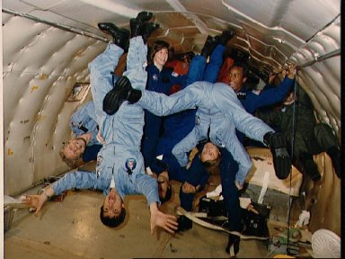 STS 61-A crewmembers training on the KC-135