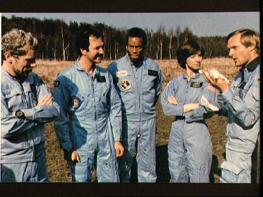 Candid view of part of the STS 61-A crew