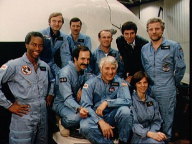 Portrait of the STS 61-A crew in front of the CCT