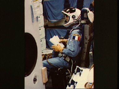 French mission specialist Patrich Baudry in launch-entry suit