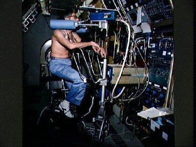 SLS-1 crewmembers in high fidelity mockup of the Spacelab
