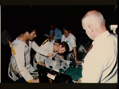 Astronauts Sherwood C. Spring and Jerry Ross training in the WETF