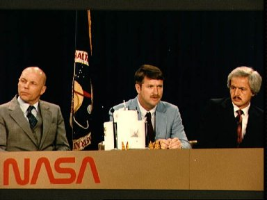 STS 51-F crew members during news conference