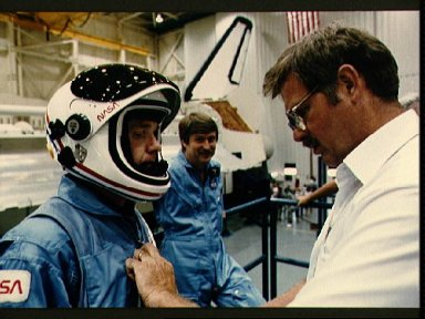 STS 51-F crewmembers during egress training
