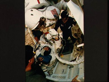 STS 61-B crewmembers training on the KC-135 in zero-G