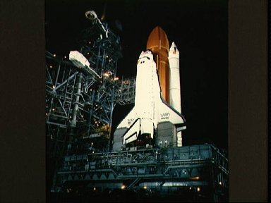 Shuttle Atlantis readied for launch at launch complex 39