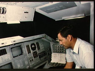 Astronaut Ronald Grabe in the single systems trainer