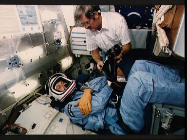 STS 61-A crew during emergency egress training