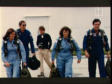 STS 51-L crewmembers at Ellington AFB for training flight in T-38