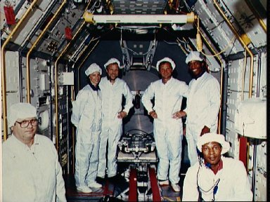 Four STS 61-A crewmembers with vestibular sled experiment