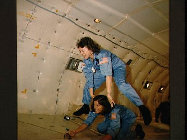 Teacher in Space trainees on the KC-135 for zero-G training