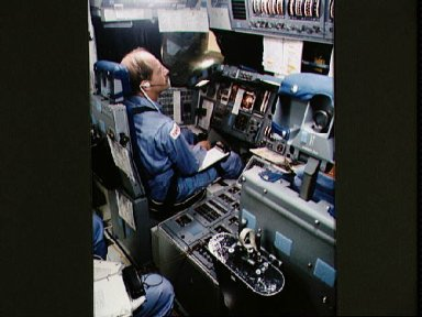 Astronaut Frederick Hauck in the Crew Compartment trainer
