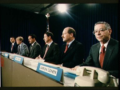 STS-26 press conference with crewmembers and JSC Director Aaron Cohen