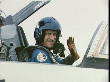 STS-26 Pilot Covey in T-38 front station at Ellington Field