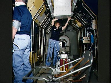 STS-40 crew trains in JSC's SLS mockup located in Bldg 36