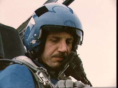 STS-26 Mission Specialist Hilmers in T-38 rear station at Ellington Field