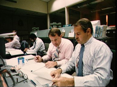 STS-26 simulation activities in JSC Mission Control Center (MCC)