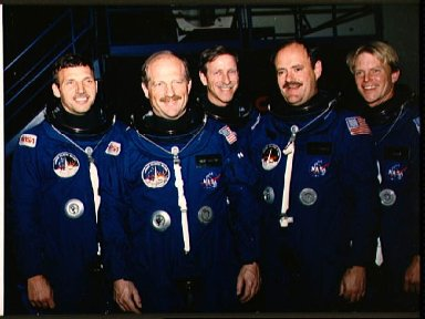 STS-26 crew in JSC Shuttle Mockup and Integration Laboratory Bldg 9A