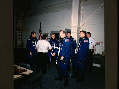 STS-26 crew in JSC Shuttle Mockup and Integration Laboratory