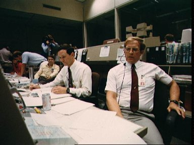 CAPCOMs Thuot and Lee monitor activities from JSC MCC during STS-26 simulation