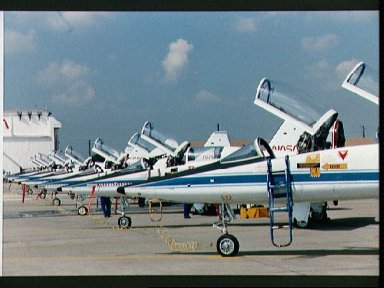 NASA T-38 jets on flight line at Ellington Field are readied for STS-26 crew