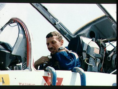 STS-26 Mission Specialist Hilmers in T-38 rear cockpit