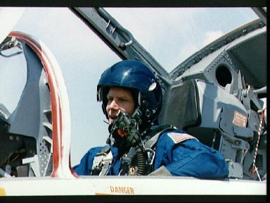STS-26 Mission Specialist Nelson in T-38 rear cockpit
