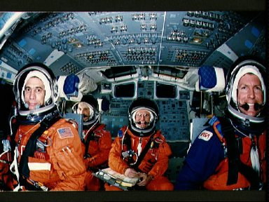 STS-29 Discovery, OV-103, crewmembers in JSC crew compartment trainer (CCT)