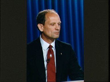 STS-30 Mission Specialist Thagard during preflight press conference at JSC