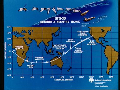 STS-30 deorbit and reentry ground track
