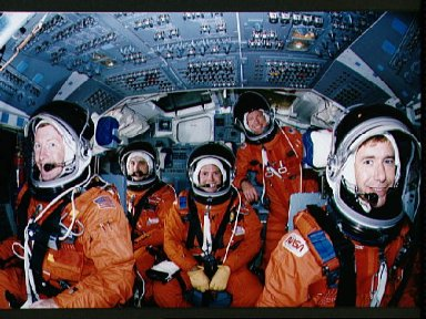 STS-28 Columbia, OV-102, crewmembers in JSC crew compartment trainer (CCT)