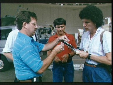 STS-34 Mission Specialists Chang-Diaz and Baker with EVA tools