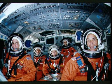 STS-33 crewmembers during training exercise in JSC Mockup and Integration Lab